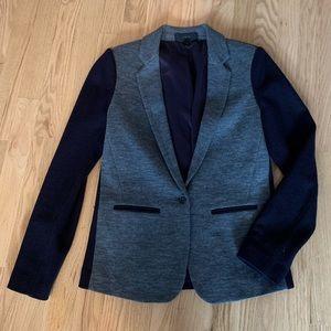 J.Crew cotton wool blazer, grey and navy. Size 4.